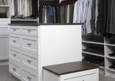 Walk In Closet - Walk Walk In Closet Shaker Drawers Doors Coco Countertop Bench Oil Rubbed Hardware(1)