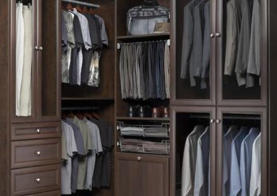 Walk In Closet - Chocolate Walk In Closet Premier Crown Moulding Wardrobe Organized Laundry Glass Doors Closet(1)