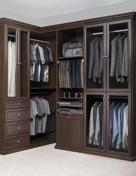 Walk In Closet   Chocolate Walk In Closet Premier Crown Moulding Wardrobe  Organized Laundry Glass Doors