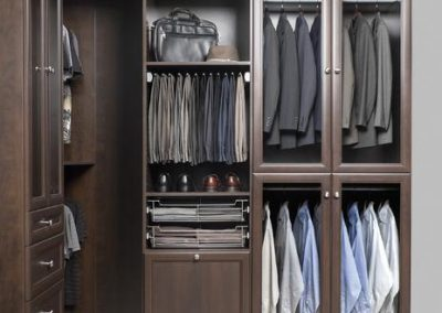 Walk In Closet - Chocolate Walk - In Closet His Premier Crown Moulding Wardrobe Glass Doors Laundry Backing Pant Rack Accessories