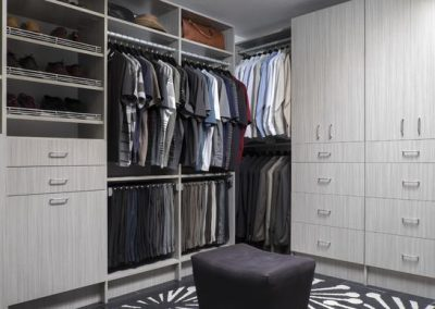 Walk In Closet - Concrete Modern Walk-in Closets Shoe Shelves Flat Faces Grey Designer
