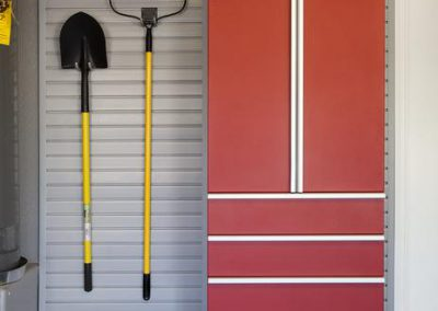 Garages - Red Garage Cabinets Drawers Stainless Steel Slotwall Rake Shovel Hooks