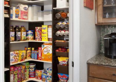 Pantry - Pantry Chocolate & White Corner Shelving Leather Baskets