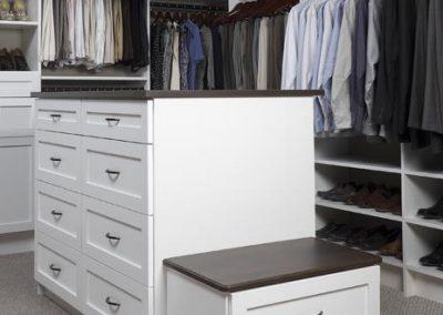 Walk In Closet - Walk Walk In Closet Shaker Drawers Doors Coco Countertop Bench Oil Rubbed Hardware(1)
