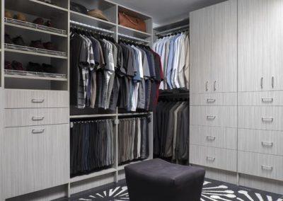 Walk In Closet - Concrete Modern Walk-in Closets Shoe Shelves Flat Faces Grey Designer
