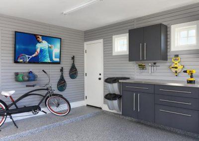 Garages - Granite Garage Cabinets Slotwall Television
