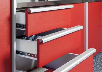 Garages - Red Full Extension Drawers Stainless Steel Handles