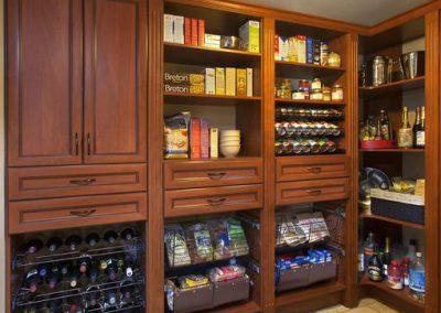 Pantry - Luxury Pantry Spice Racks Crown Moulding Wine Corner shelves Doors Cognac Premier